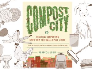 Compost City Practical Composting Know How for Small Space Living. Here is a peek at the cute illustrations inside, including compost bins, earthworms and helpful composting tools!