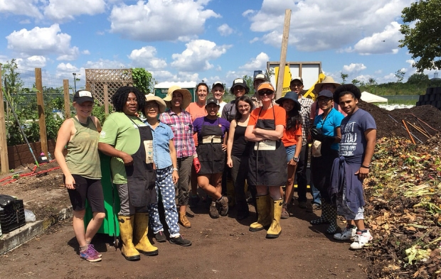 A team of volunteers is ready to make compost magic happen!